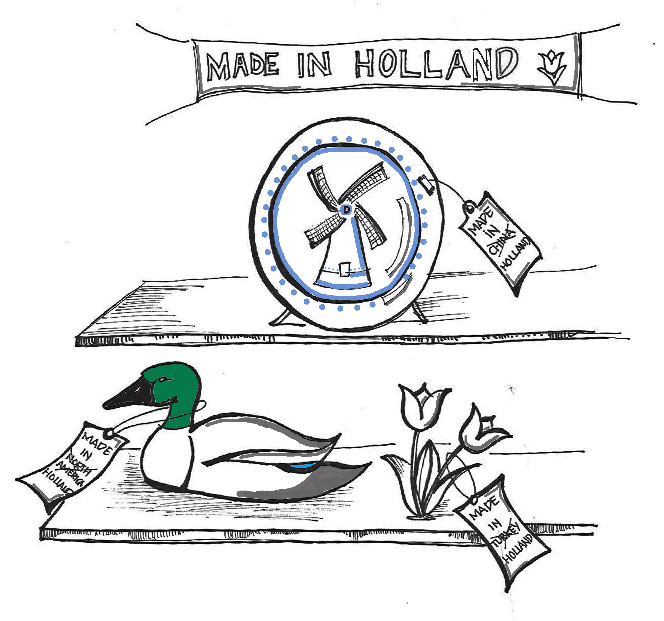NOT' MADE IN HOLLAND  The not-so-Dutch Duck waddling in